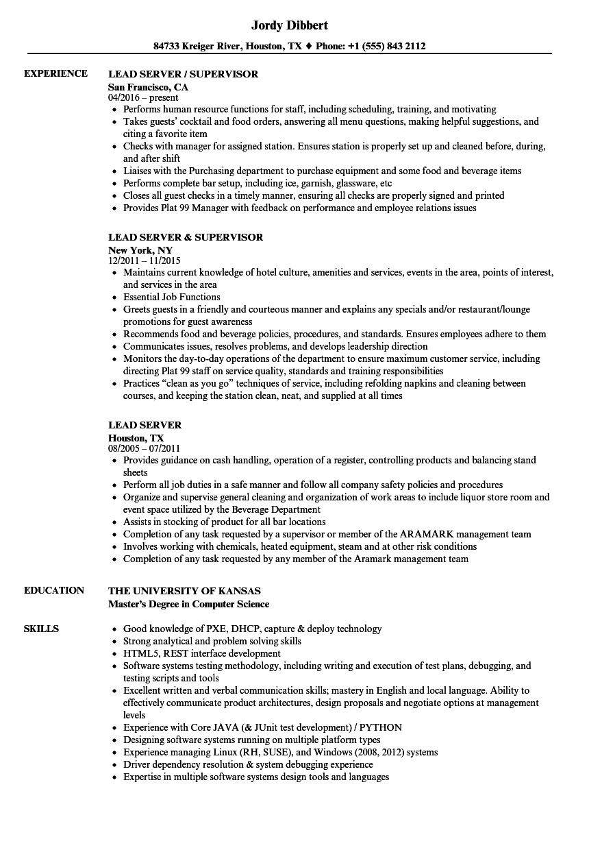 Lead Server Resume Samples | Velvet Jobs