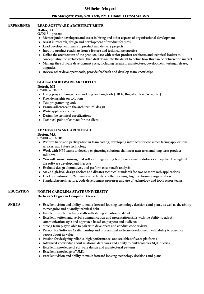 lead software architect resume samples velvet jobs