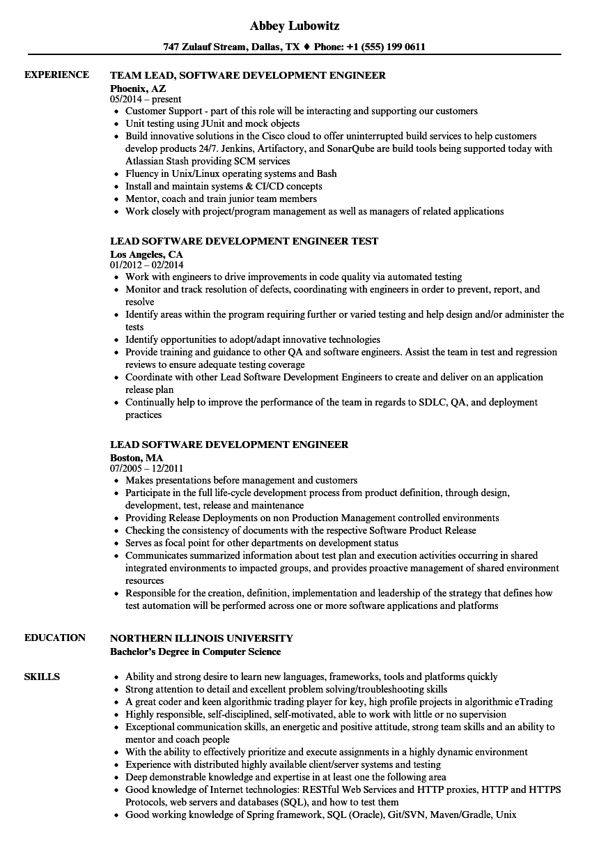 lead software development engineer resume samples