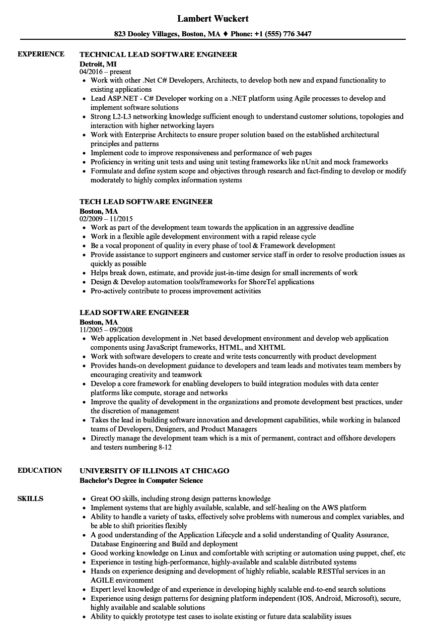 Lead Software Engineer Resume Samples Velvet Jobs
