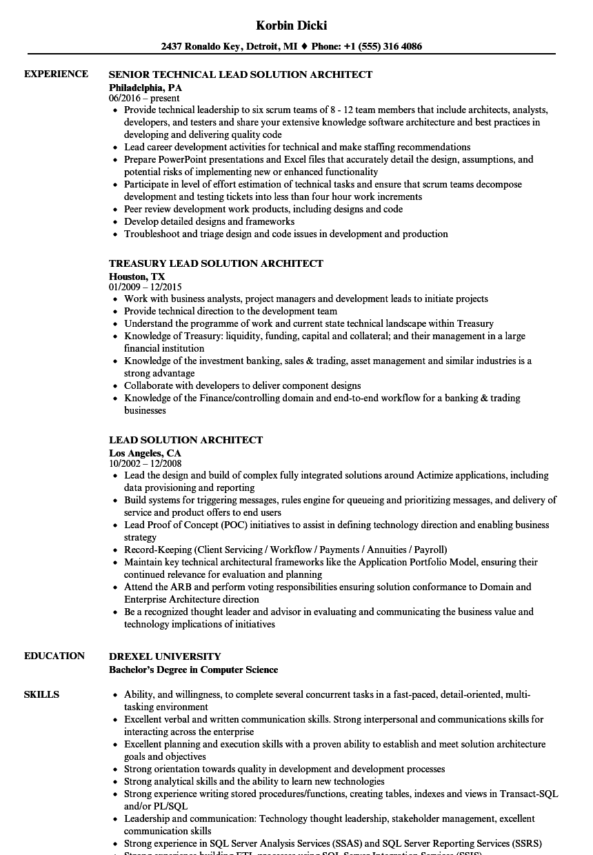 lead solution architect resume samples
