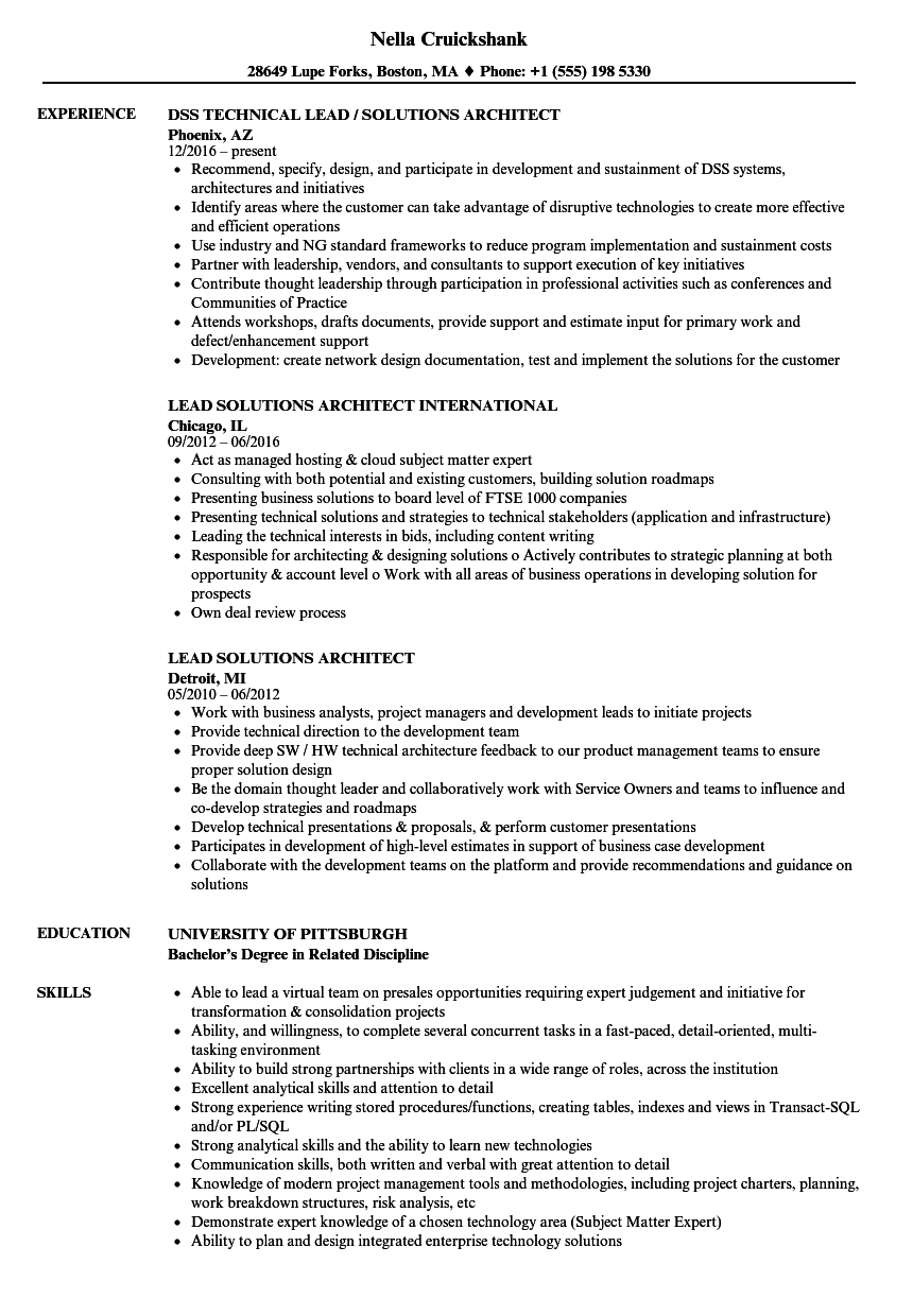 Download Lead Solutions Architect Resume Sample As Image File