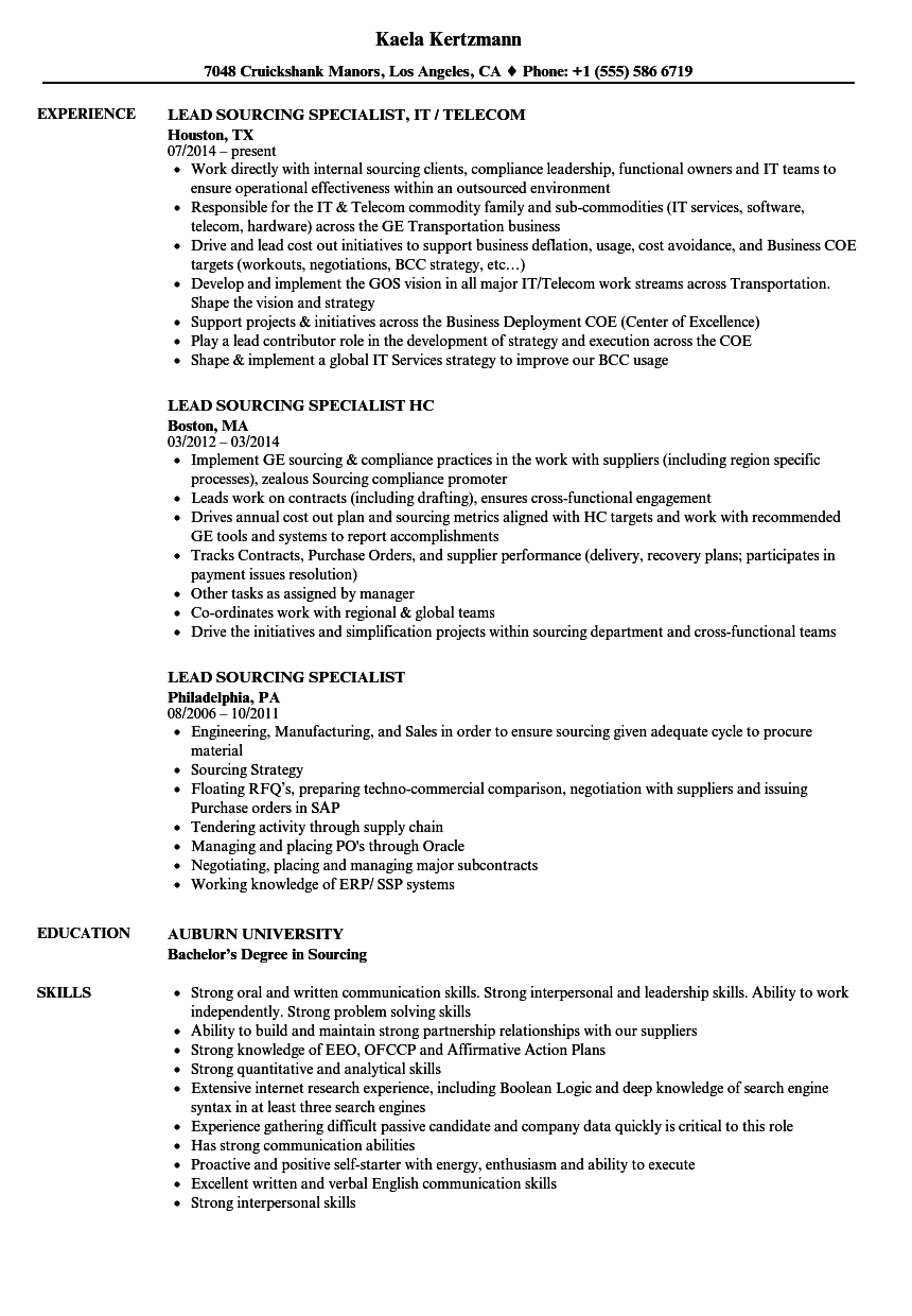 lead sourcing specialist resume samples