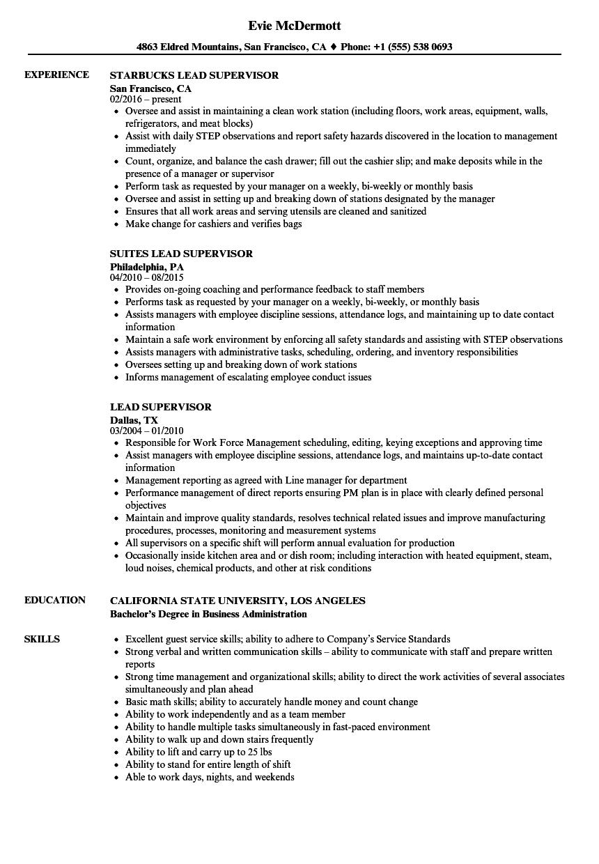 Lead Supervisor Resume Samples