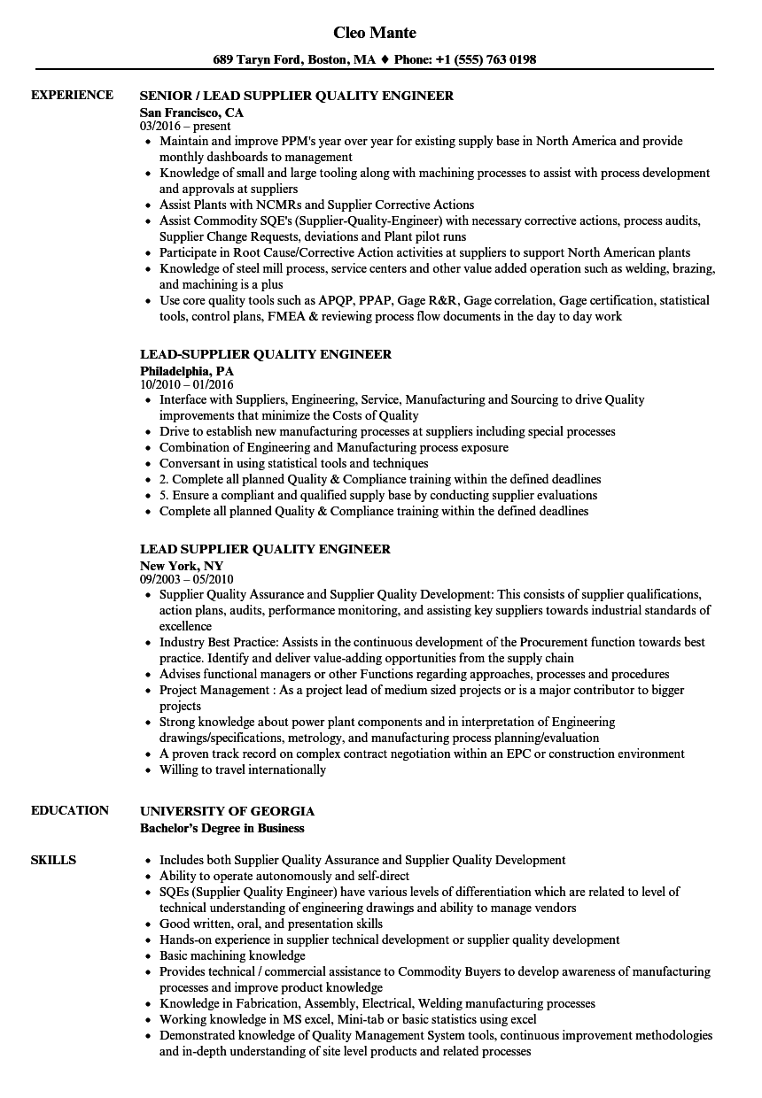lead supplier quality engineer resume samples