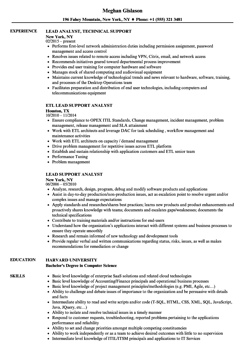 lead support analyst resume samples