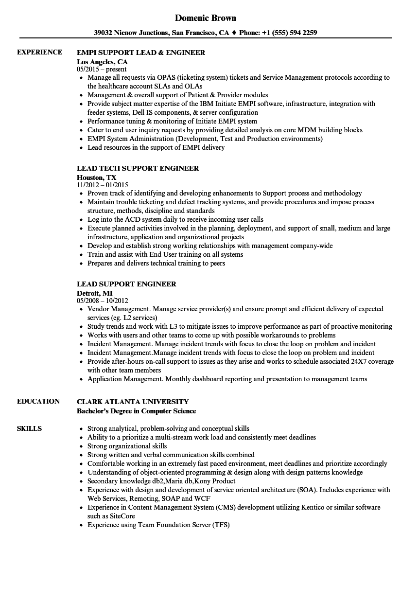 lead support engineer resume samples
