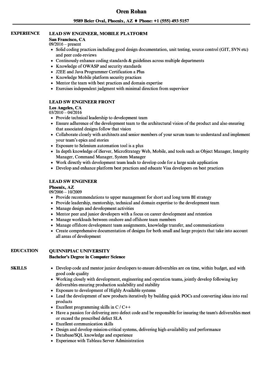 lead sw engineer resume samples