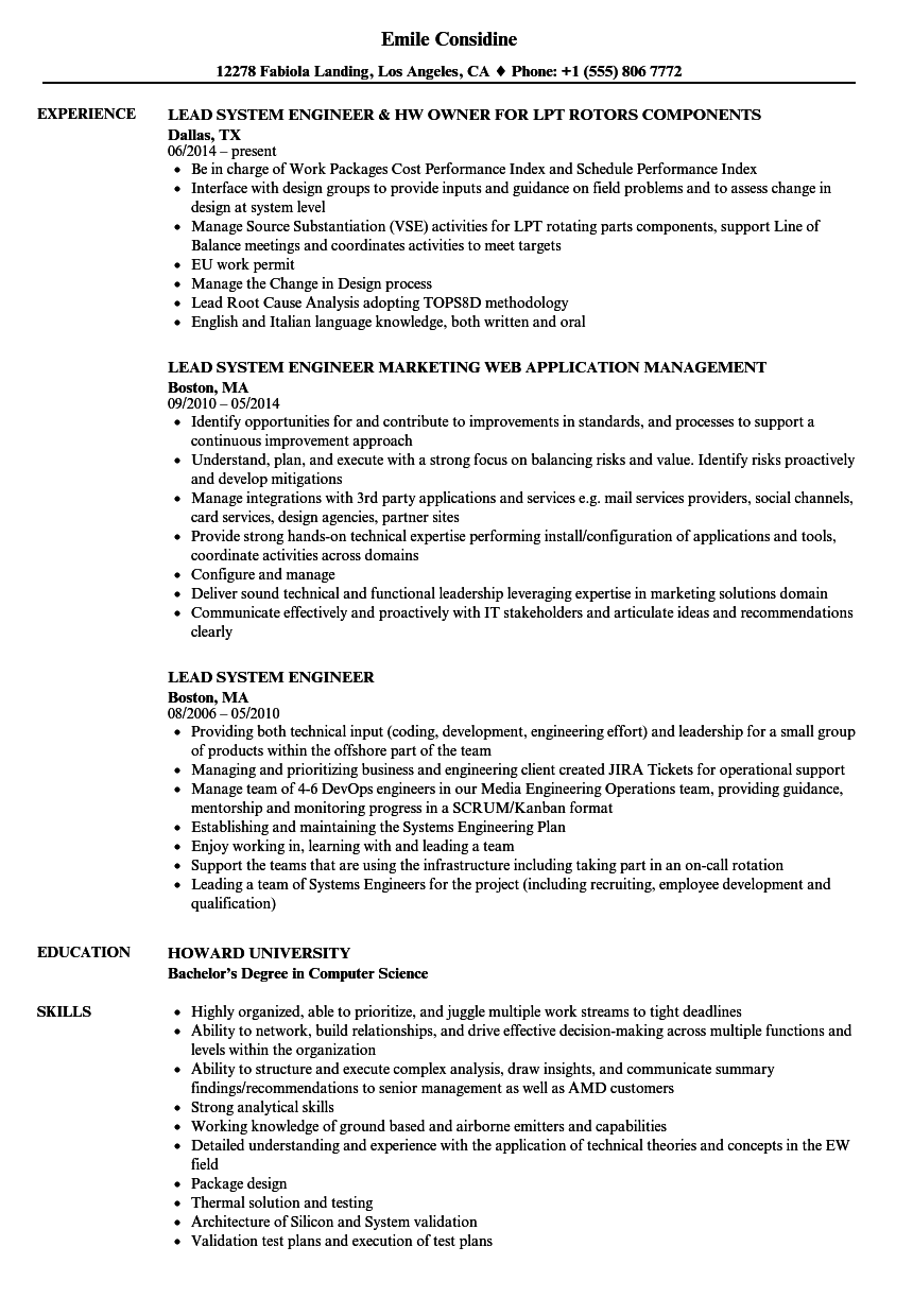 cover letter systems engineer sample resume systems engineer