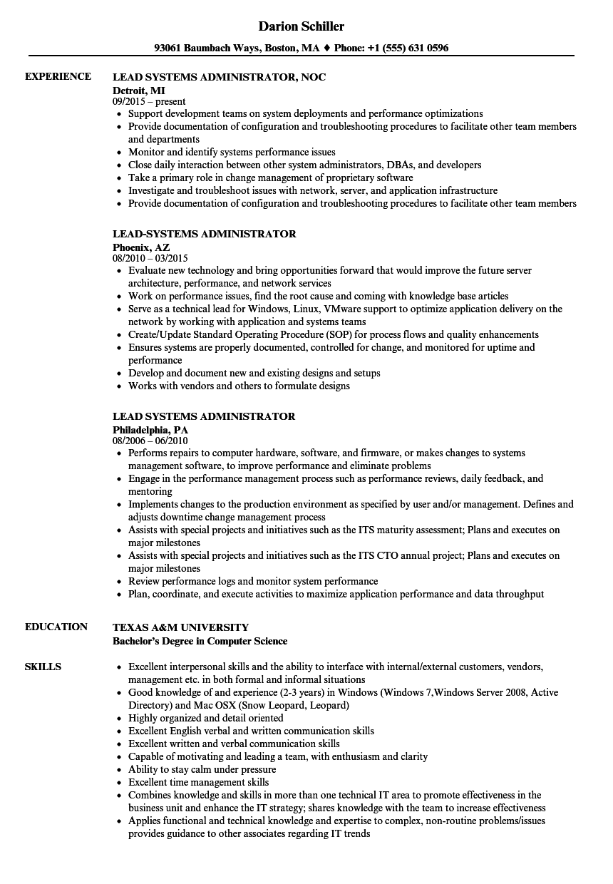 Download Lead Systems Administrator Resume Sample As Image File  Systems Administrator Resume