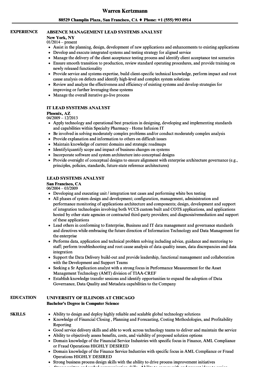 sample system analyst resume