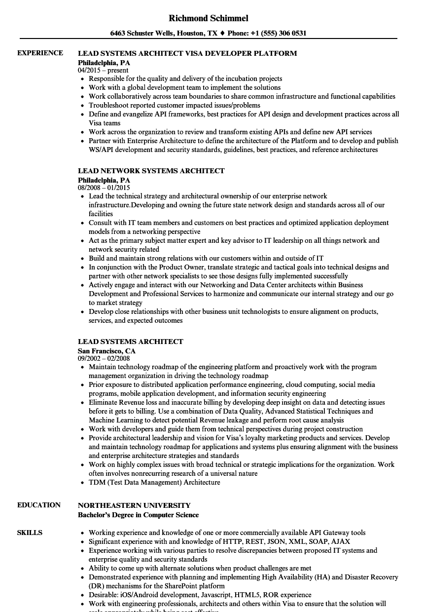 Lead Systems Architect Resume Samples | Velvet Jobs