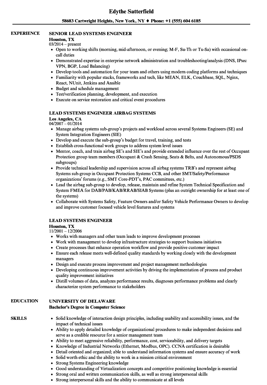 Lead Systems Engineer Resume Samples Velvet Jobs
