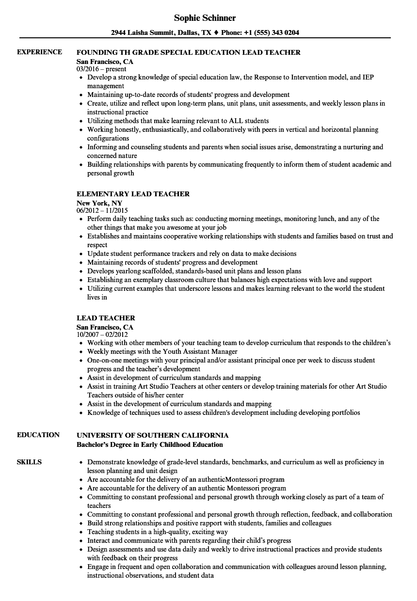Lead Teacher Resume Samples Velvet Jobs