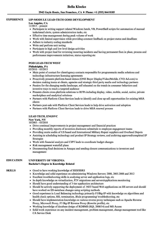 lead tech resume samples