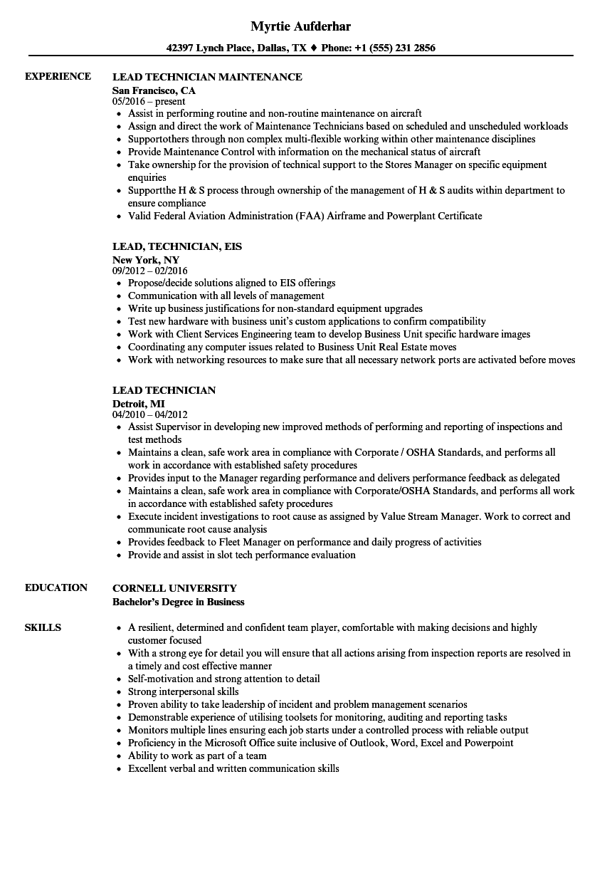 Lead Technician Resume Samples | Velvet Jobs