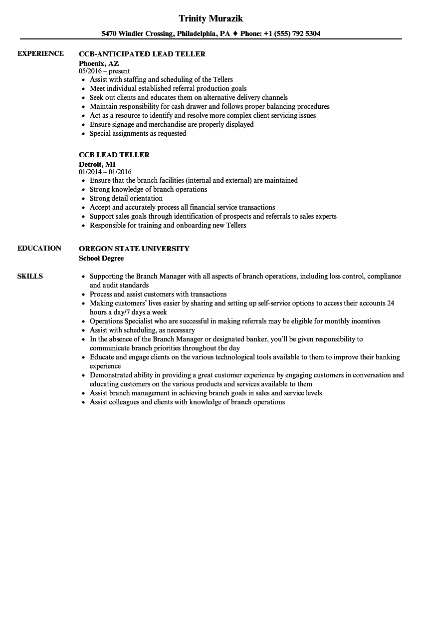 Lead Teller Resume Samples | Velvet Jobs