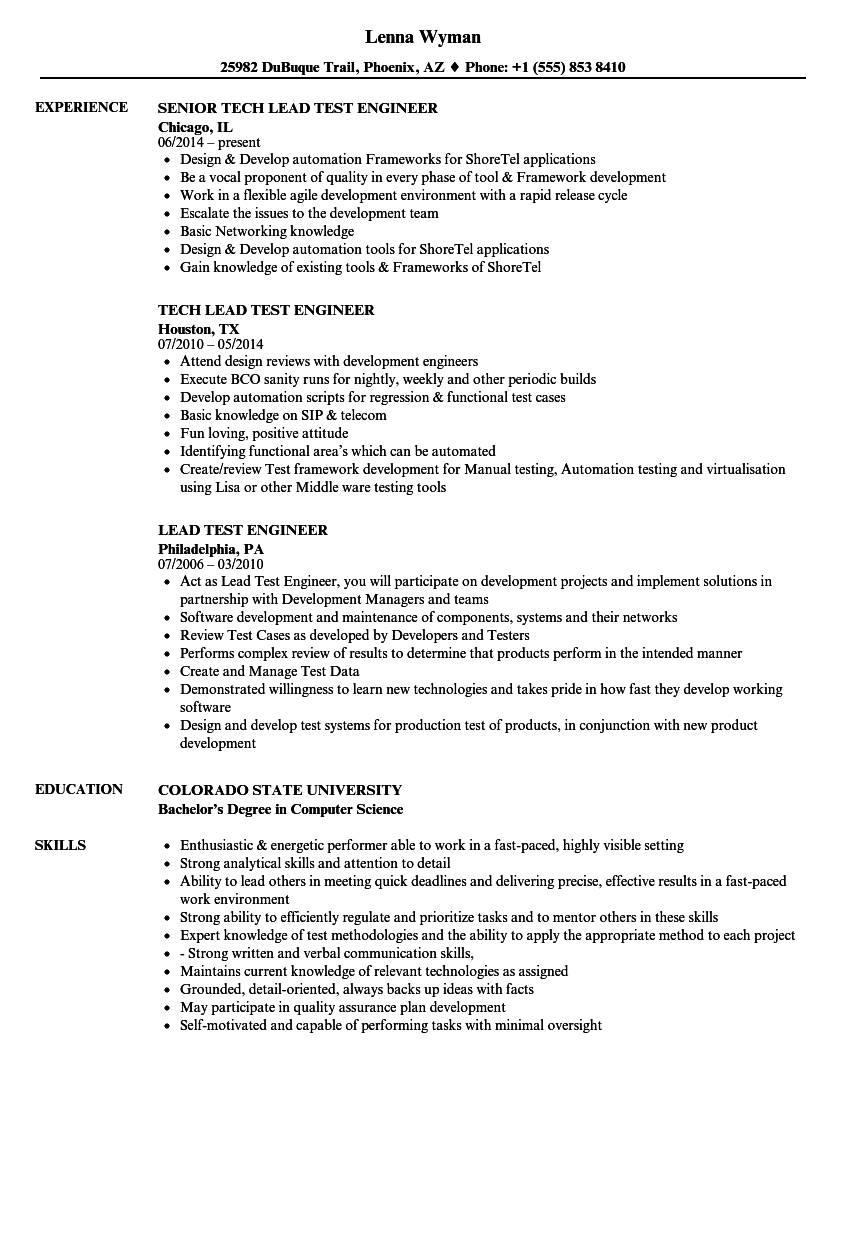 lead test engineer resume samples