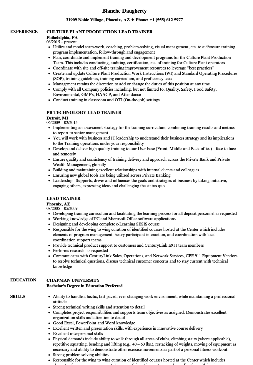 Download Lead Trainer Resume Sample As Image File  Educational Resume Examples