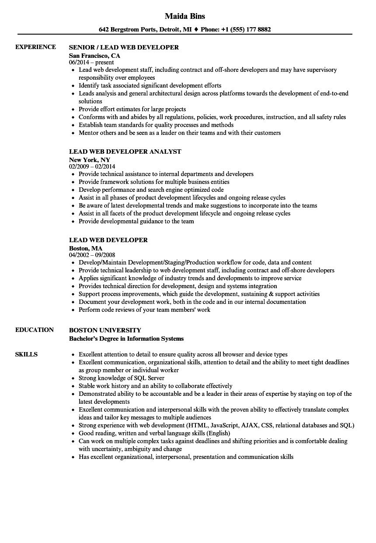 lead web developer resume samples