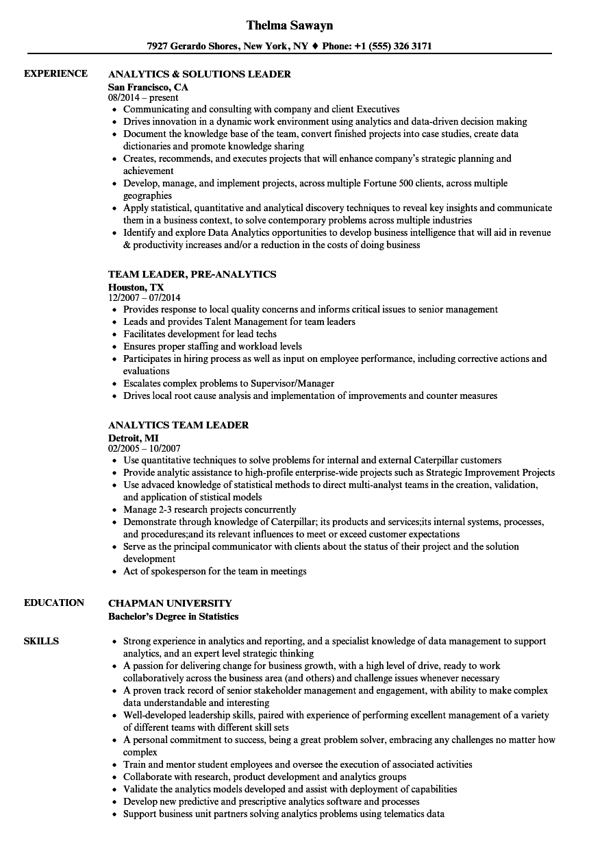 Leader, Analytics Resume Samples | Velvet Jobs