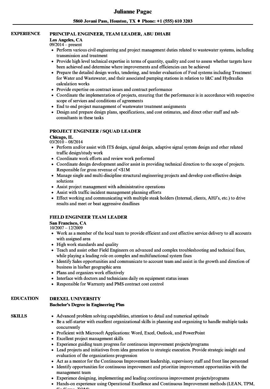 Leader Engineer Resume Samples | Velvet Jobs