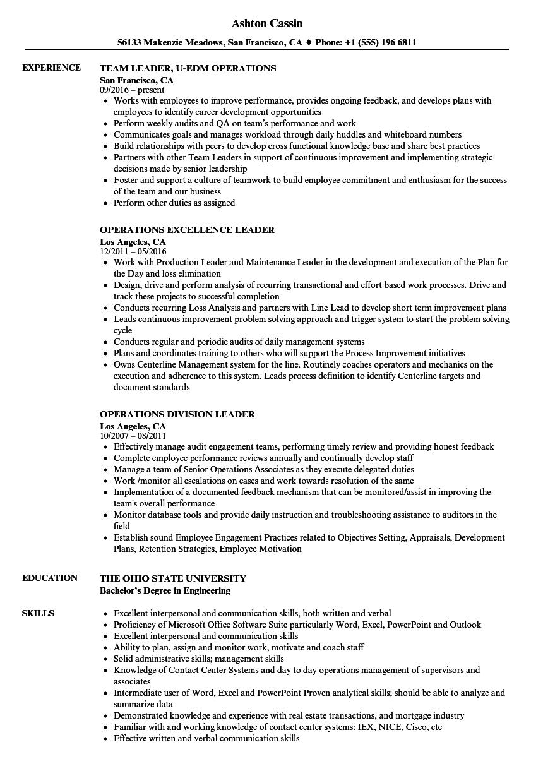 leader  operations resume samples