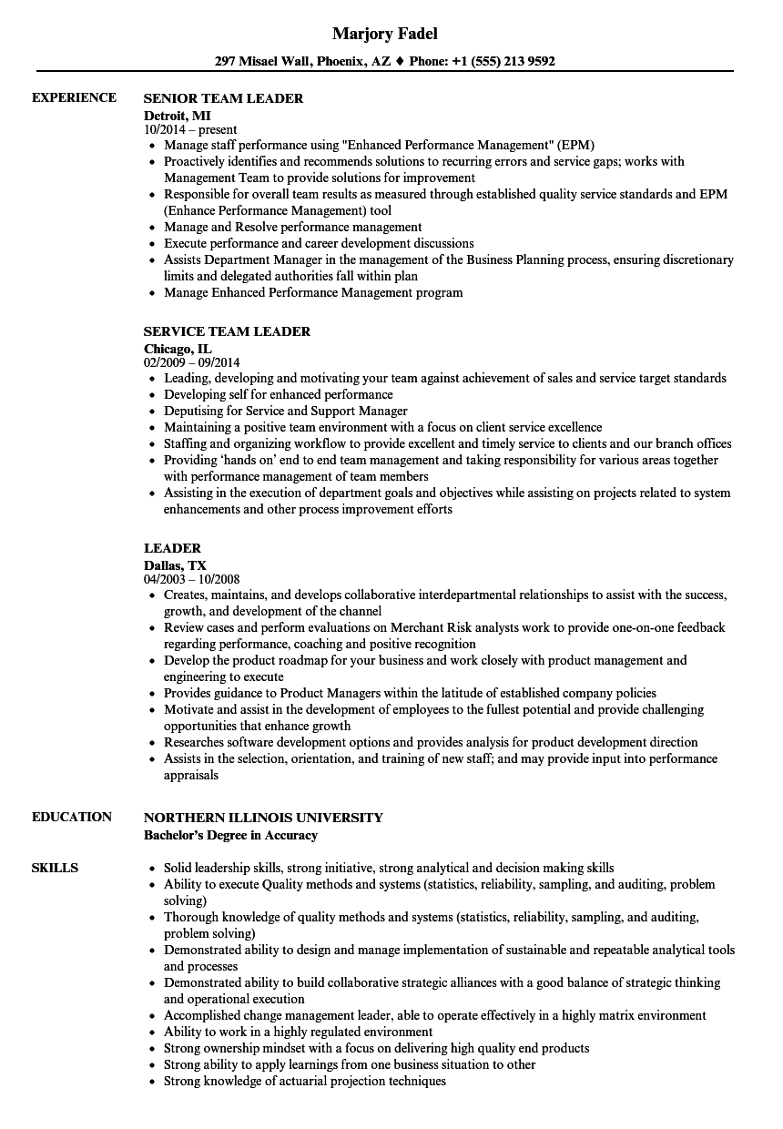 leader resume samples