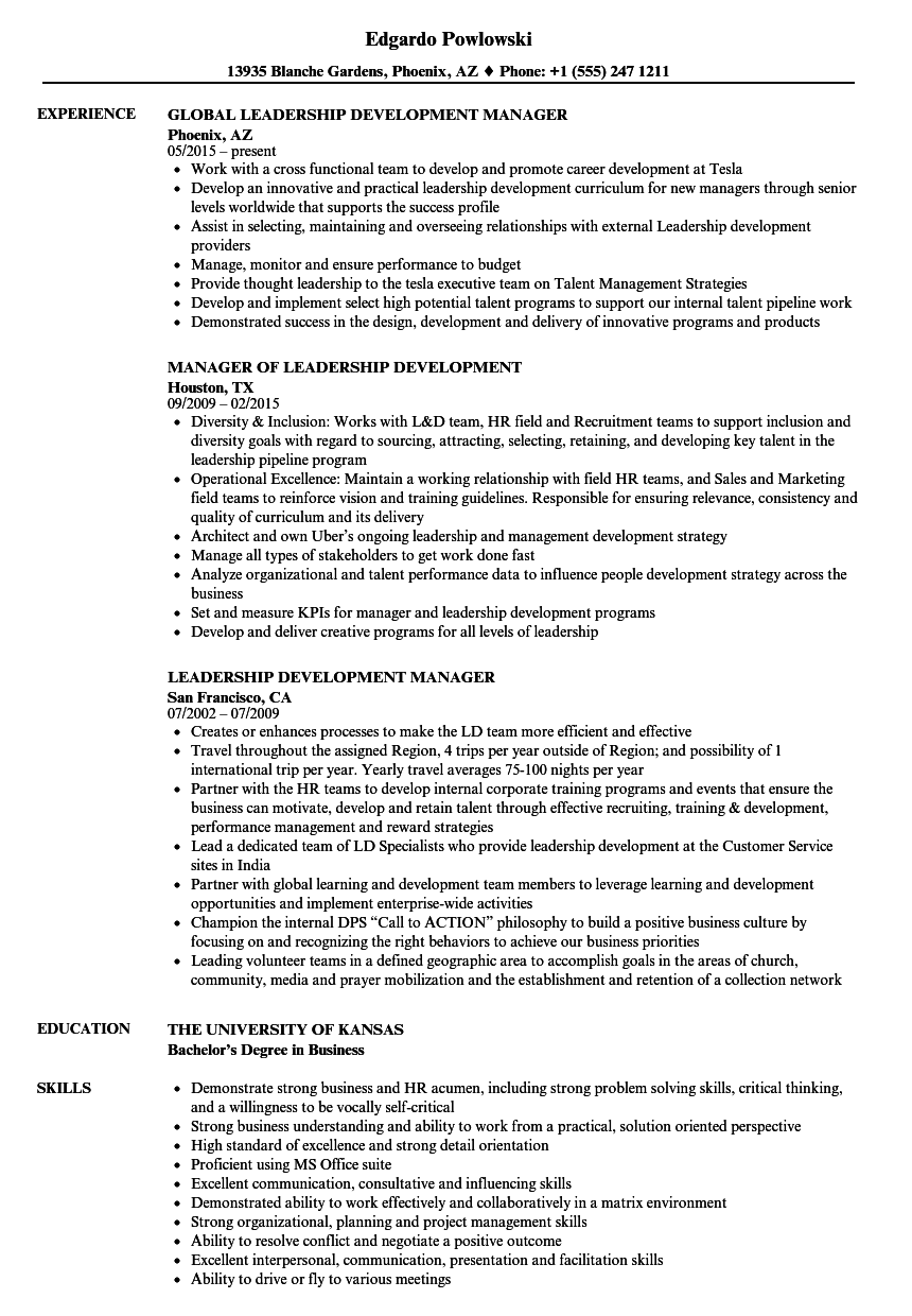 Leadership Development Manager Resume Samples | Velvet Jobs