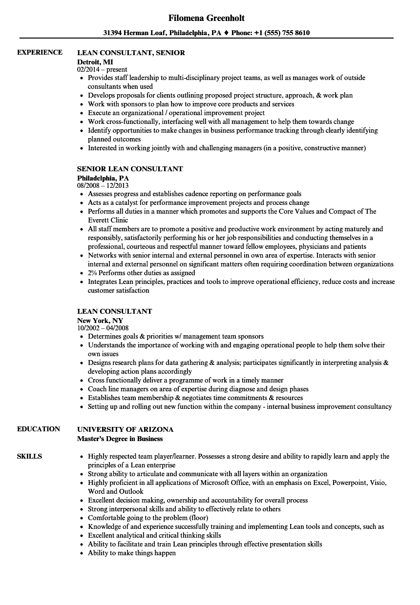 Lean Consultant Resume Samples | Velvet Jobs