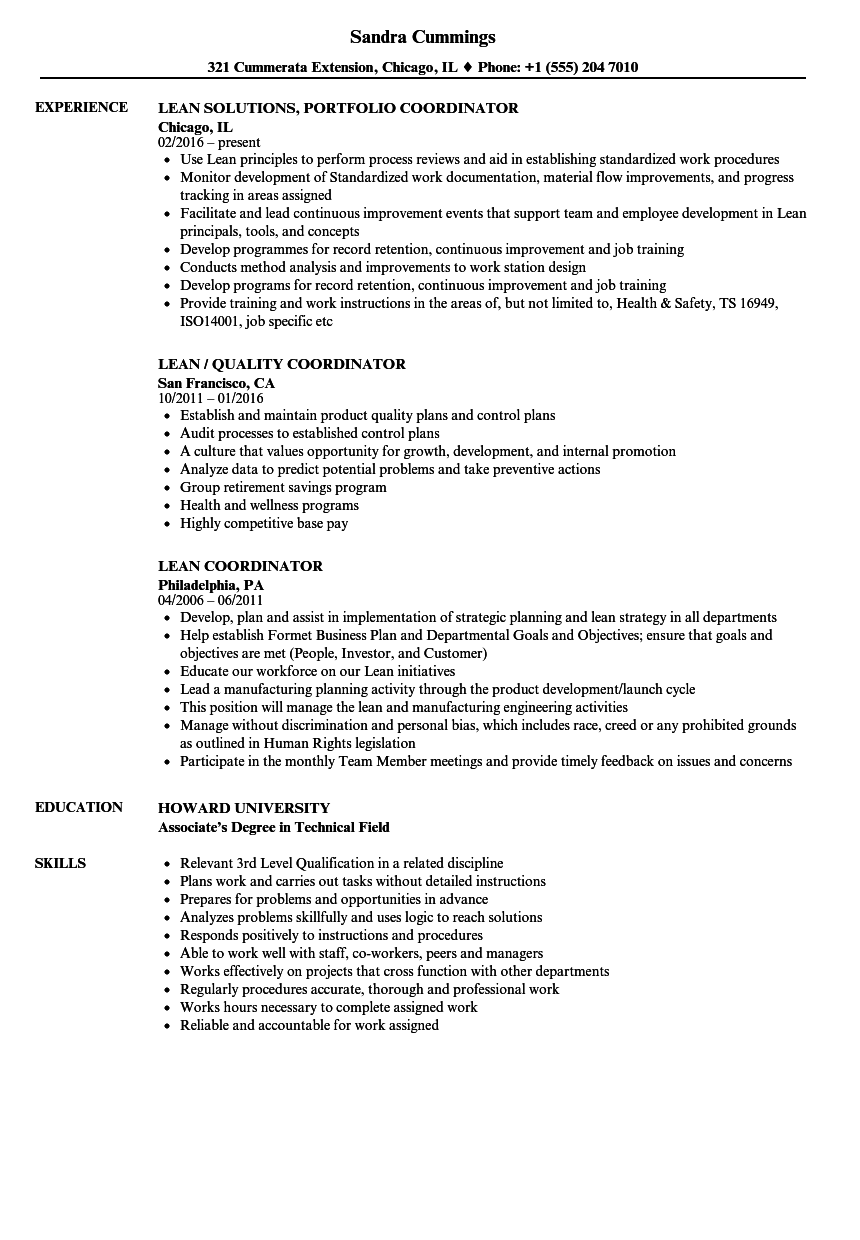 Download Lean Coordinator Resume Sample As Image File