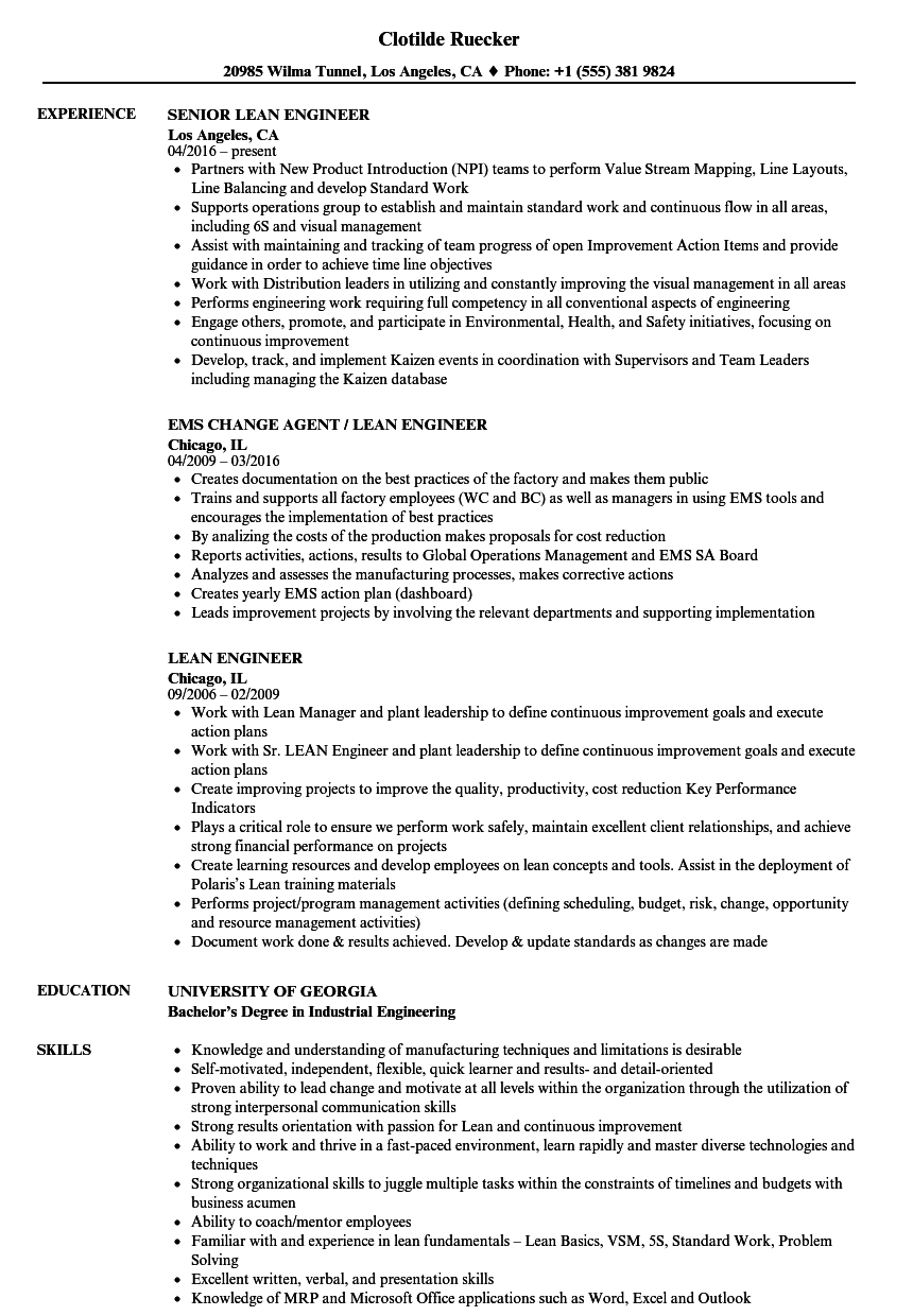 lean engineer resume samples velvet jobs