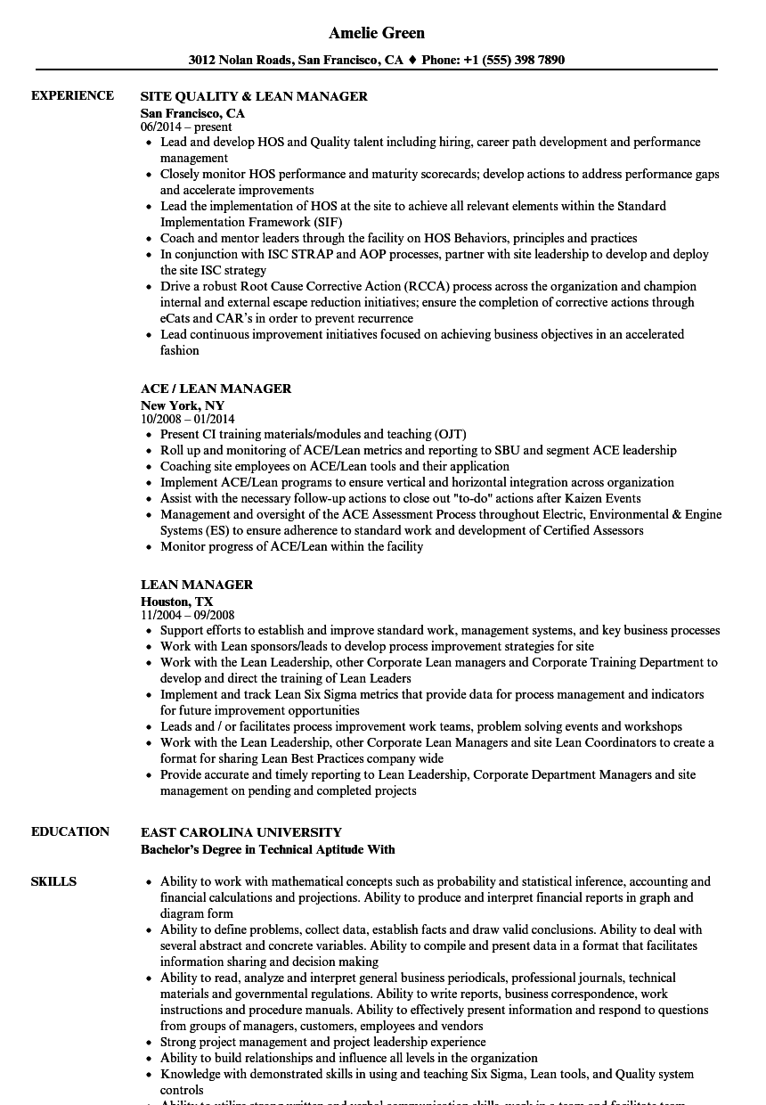 lean manager resume samples