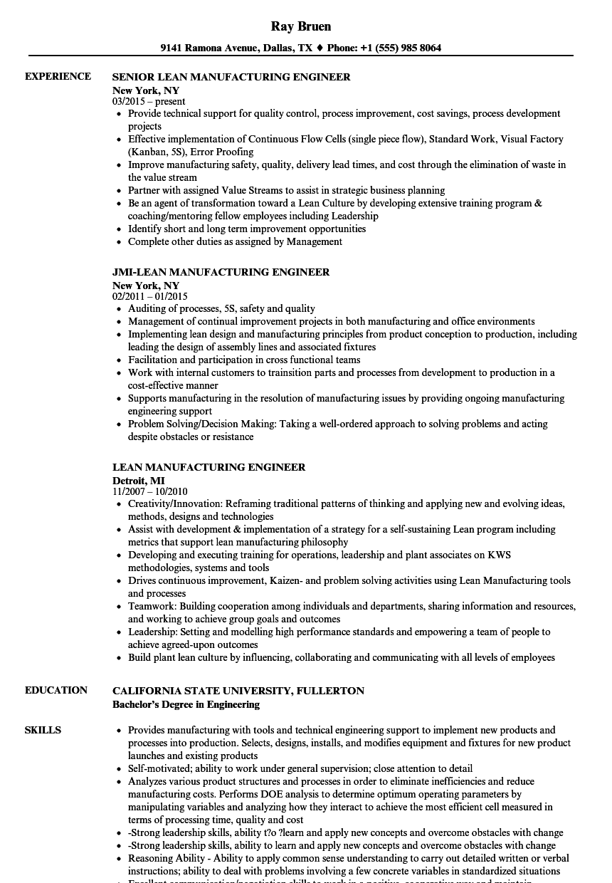Lean Manufacturing Engineer Resume Samples Velvet Jobs