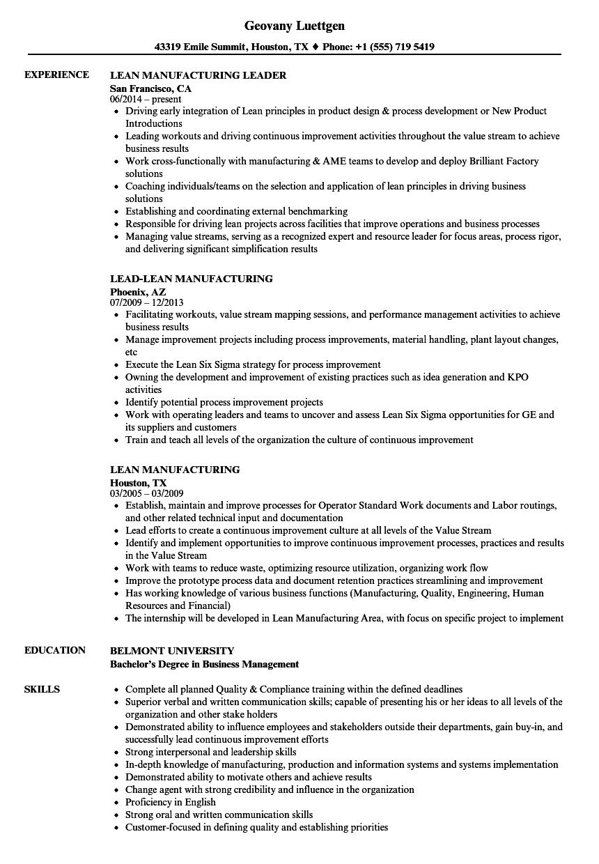 lean manufacturing resume samples