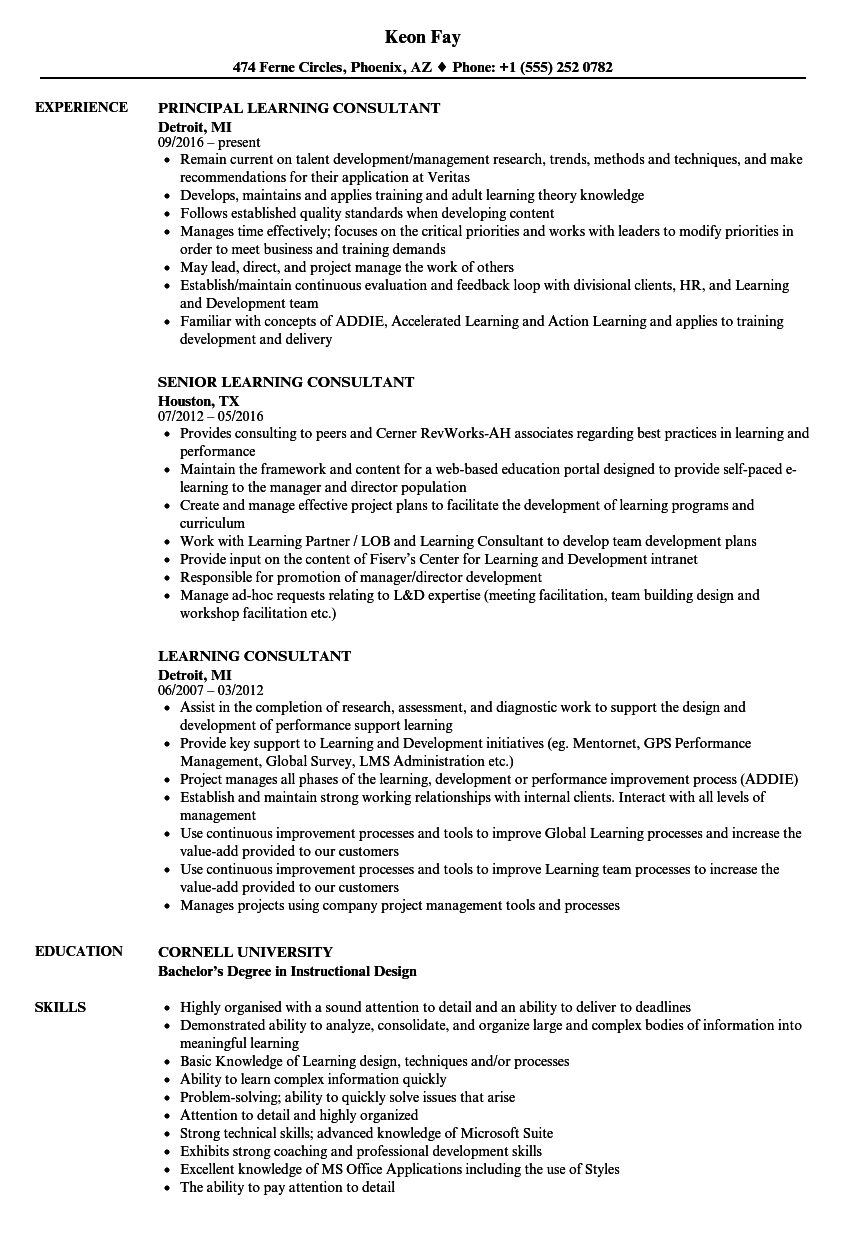 Learning Consultant Resume Samples Velvet Jobs