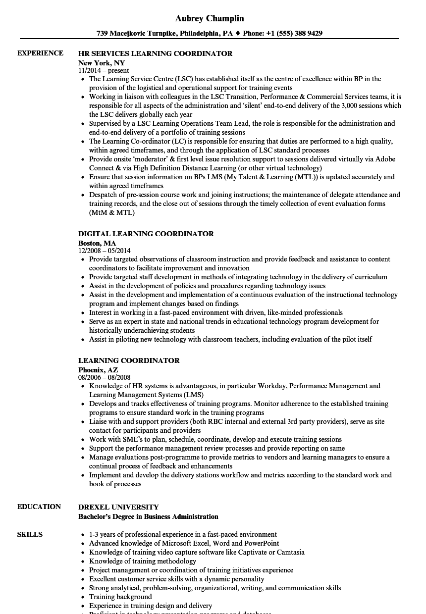 learning coordinator resume samples