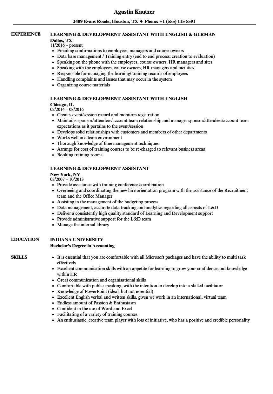 learning  u0026 development assistant resume samples