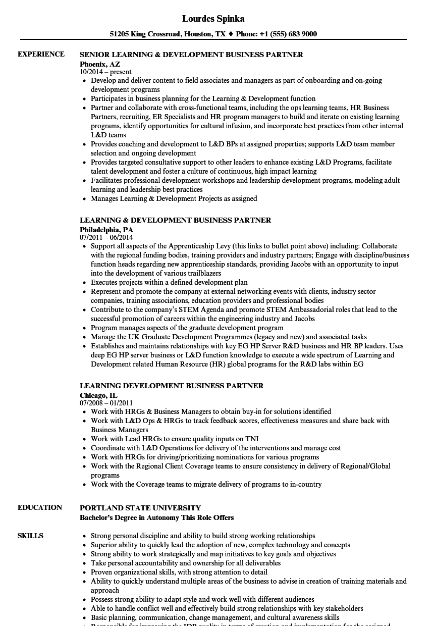 download learning development business partner resume sample as image file - Resume Samples Education