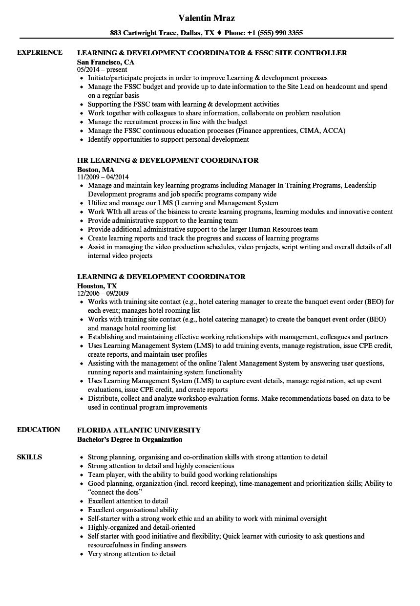 Learning & Development Coordinator Resume Samples | Velvet Jobs