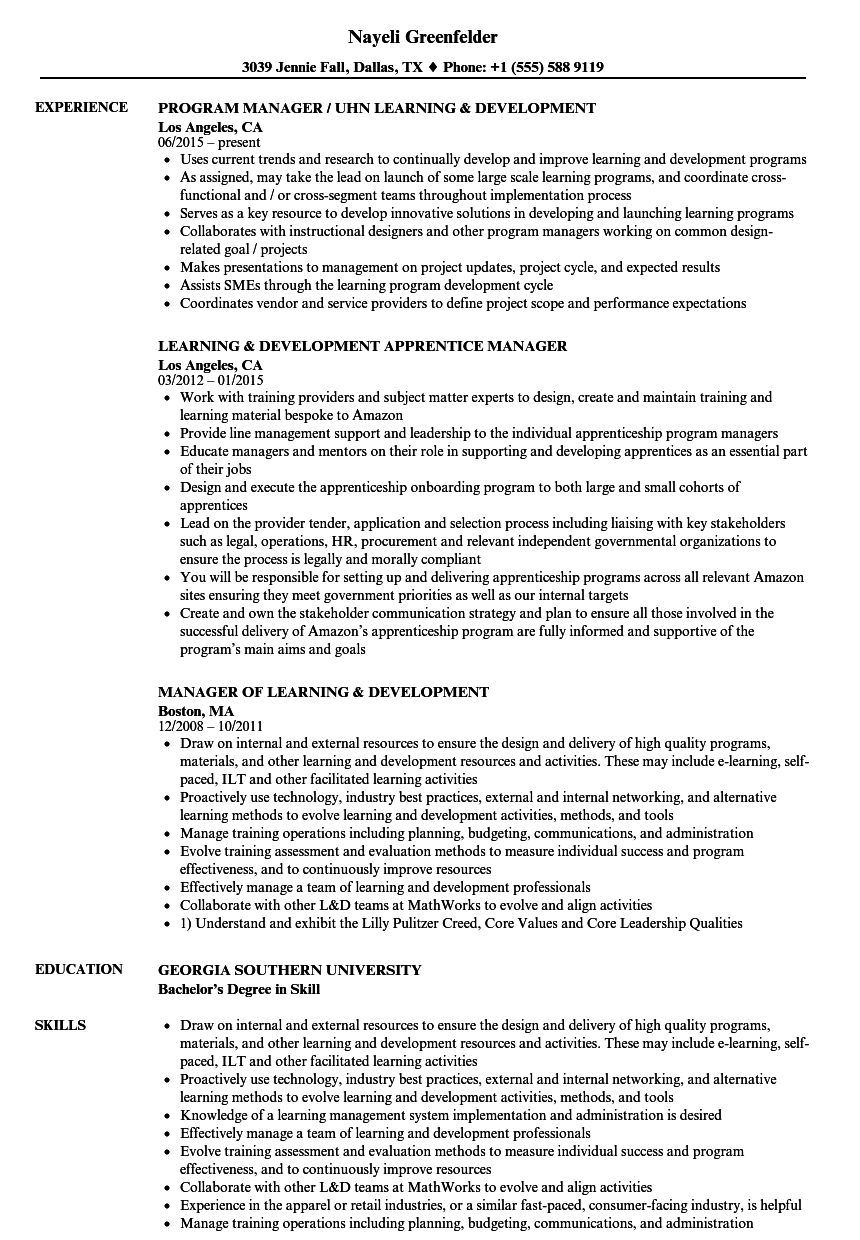 Learning Development Manager Learning Resume Samples Velvet Jobs