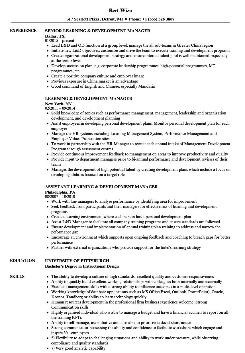 learning  u0026 development manager resume samples