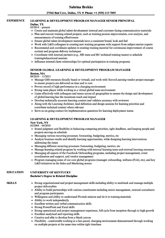 learning development program manager resume samples velvet jobs