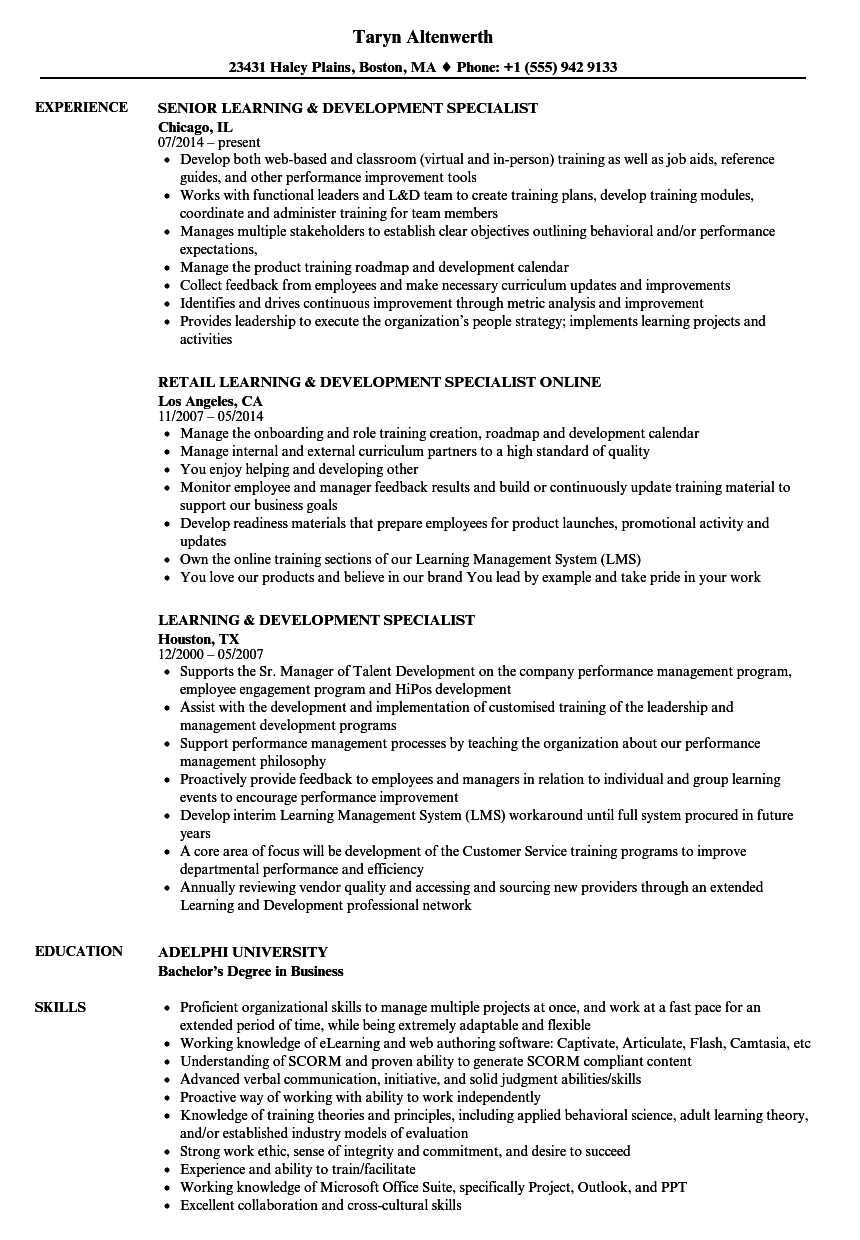 Download Learning Development Specialist Resume Sample As Image File