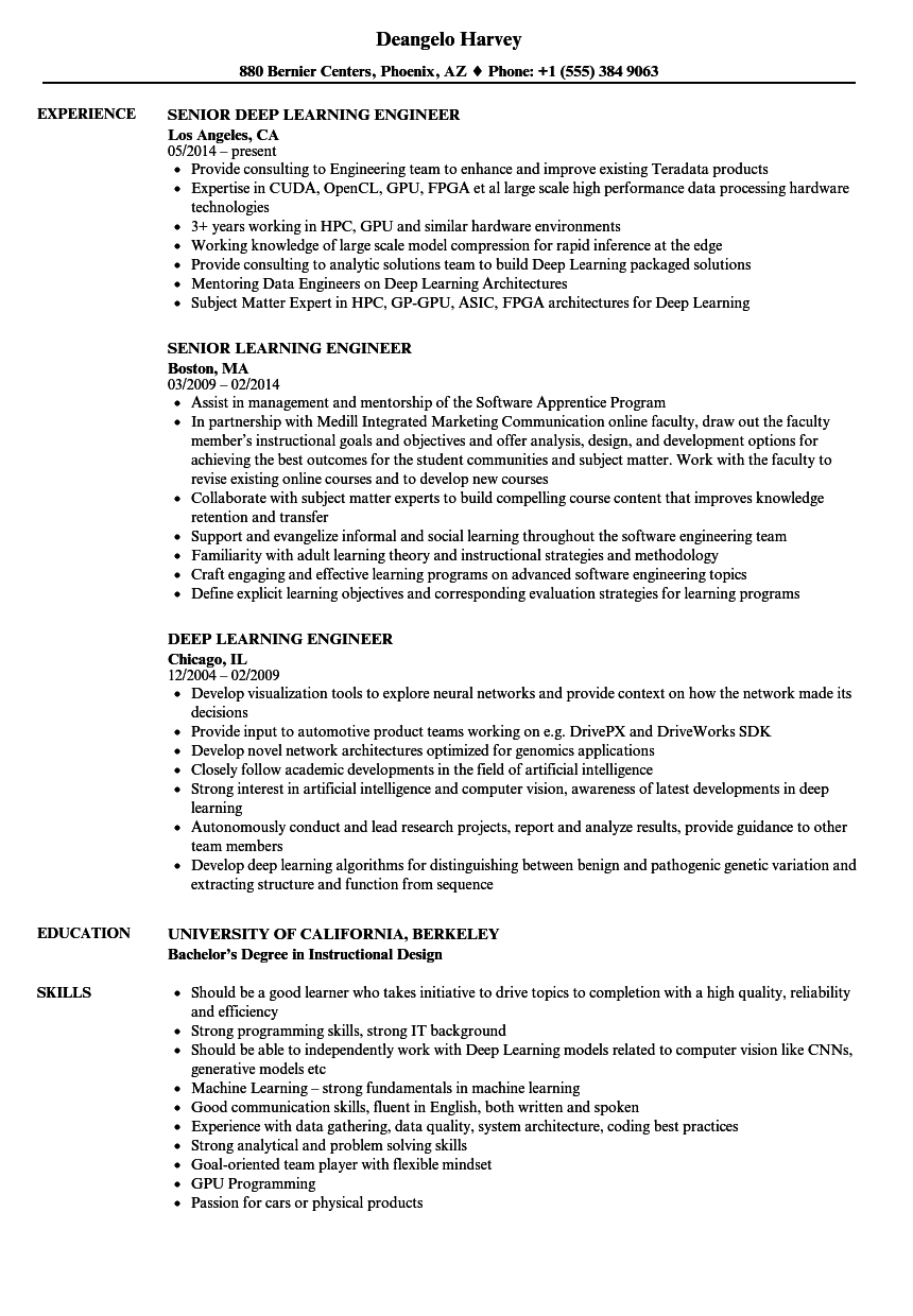 learning engineer resume samples