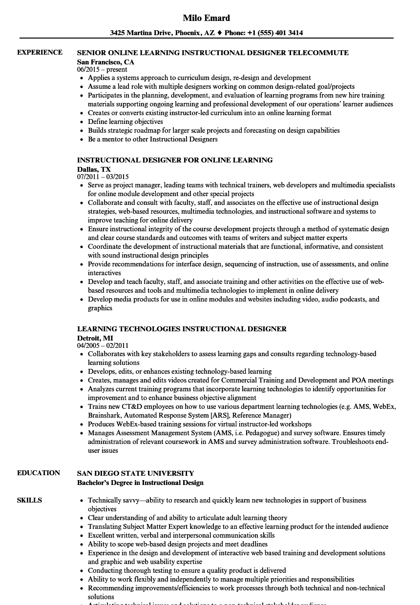 Learning Instructional Designer Resume Samples | Velvet Jobs