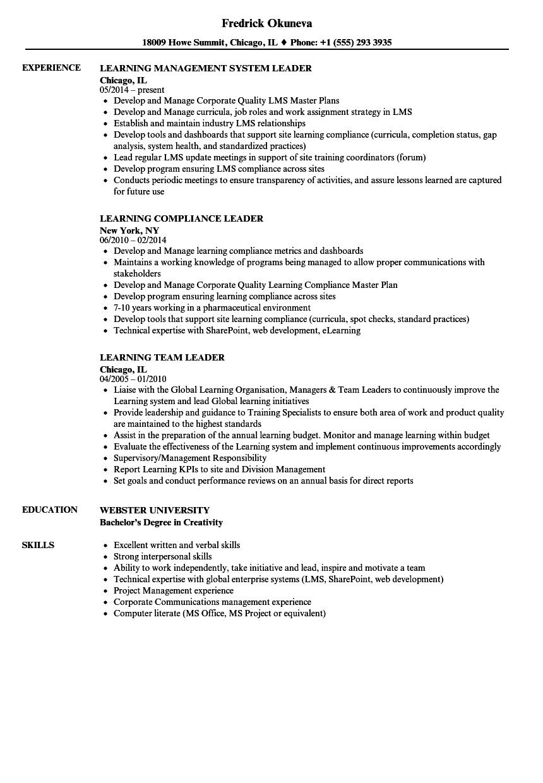 download learning leader resume sample as image file - Ce Resume