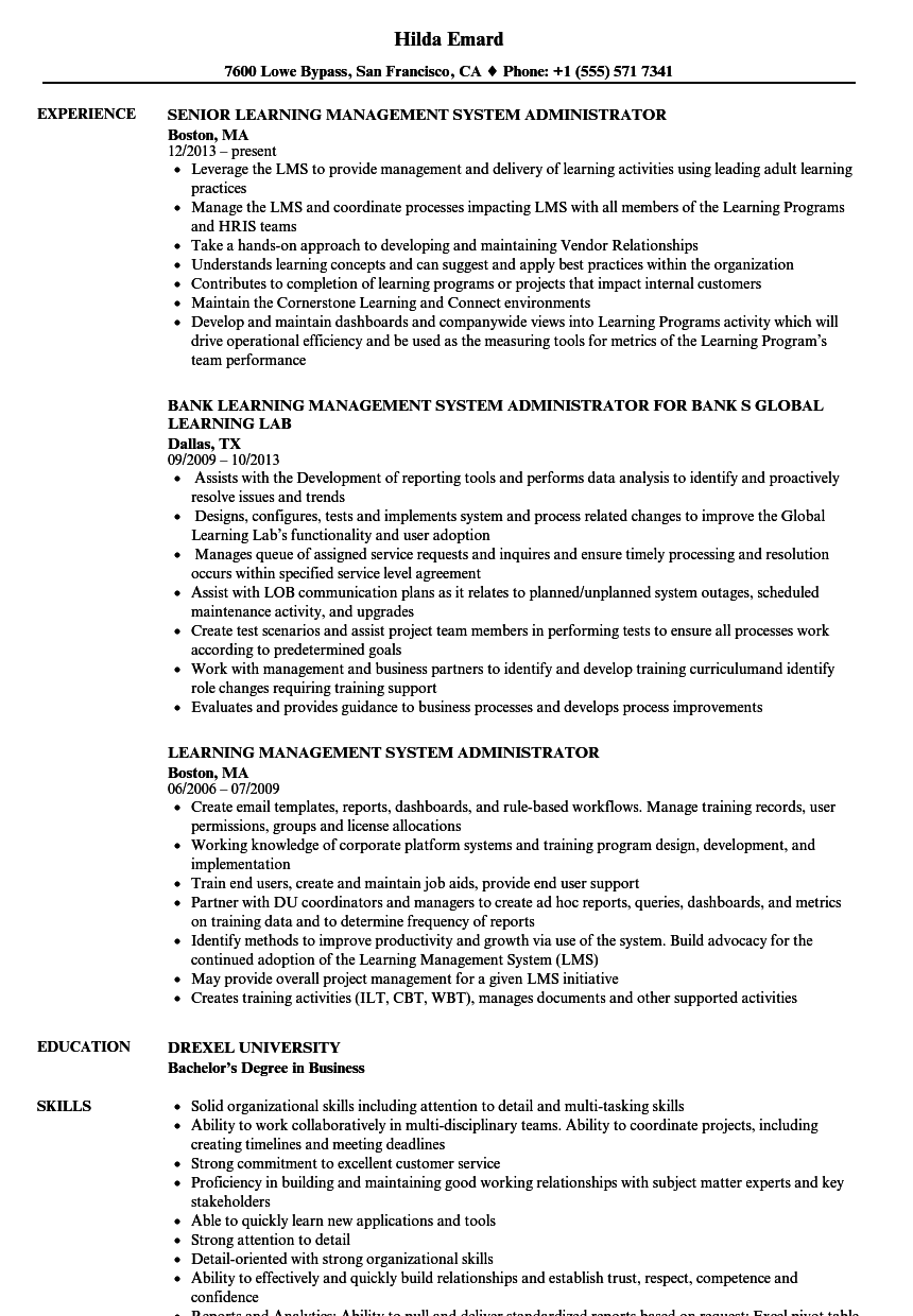 Learning Management System Administrator Resume Samples Velvet Jobs