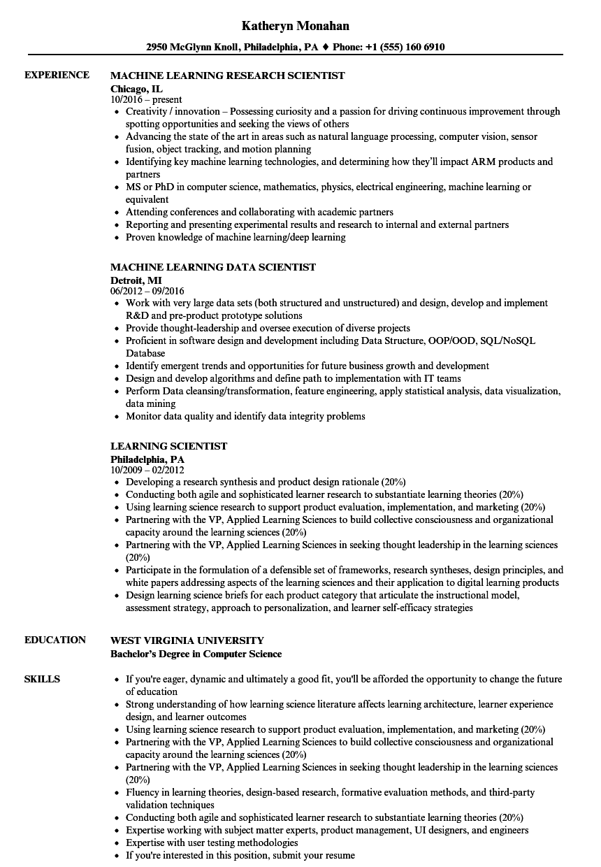 learning scientist resume samples