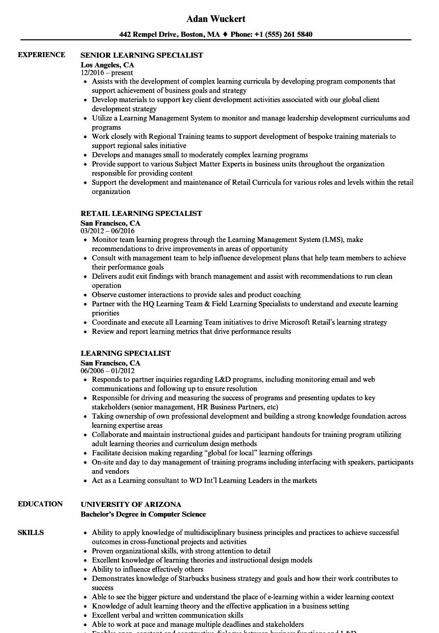 learning specialist resume samples